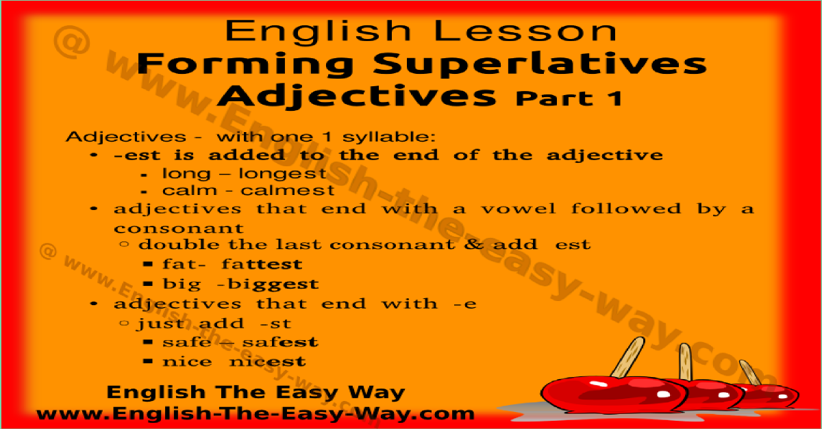 Superlative Adjectives Structure English Grammar