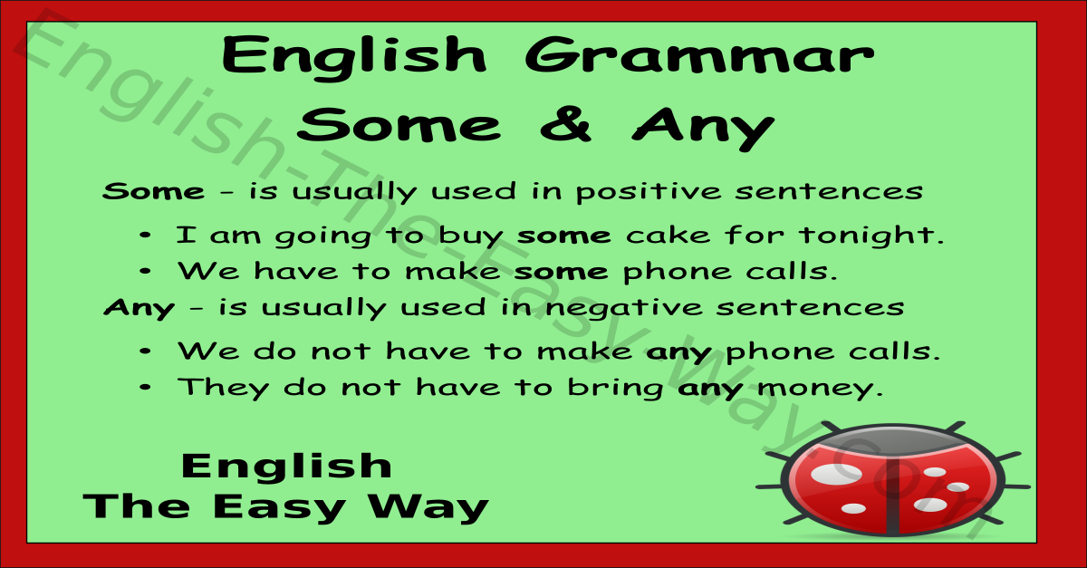 Some Amp Any English Grammar English The Easy Way