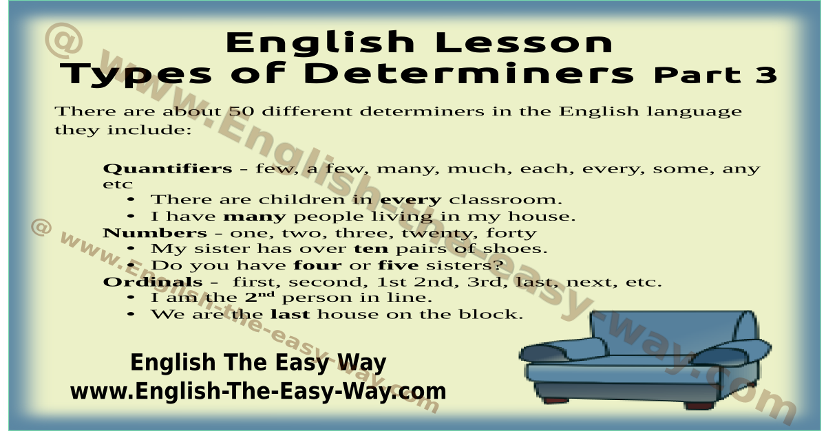 types of determiners - english grammar