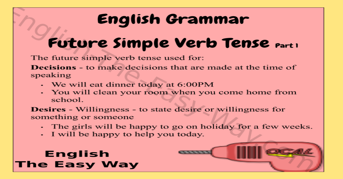 future simple verb tense - english grammar