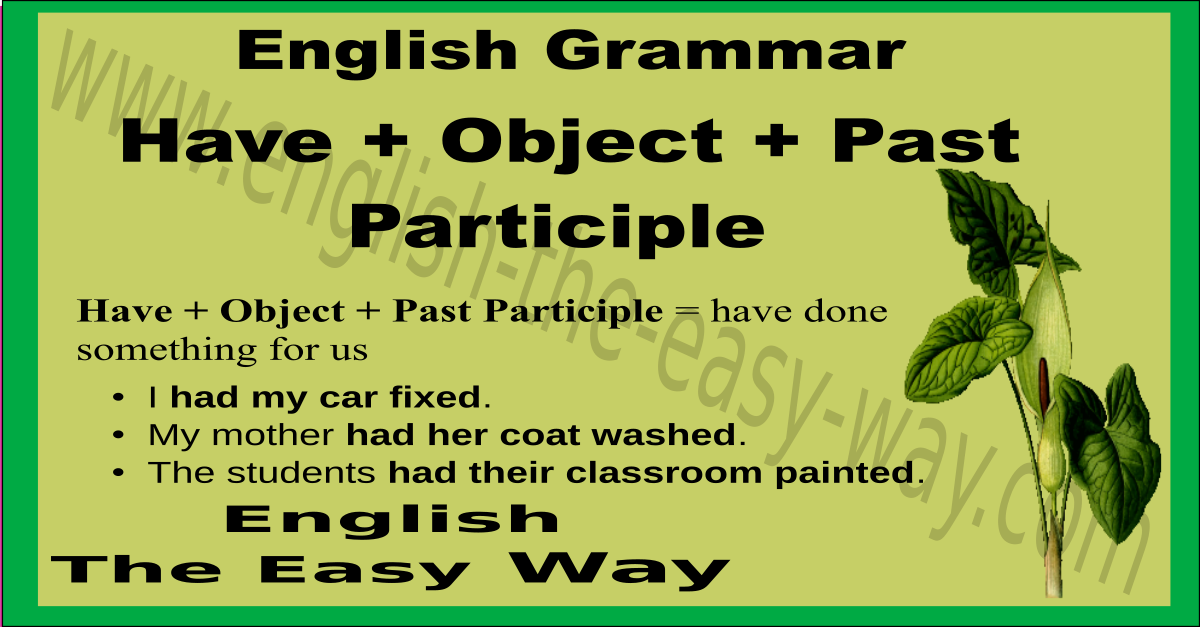 have   object   past participle