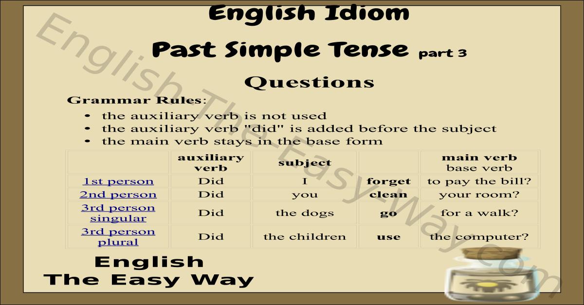 past simple verb tense chart english verb tense english the easy