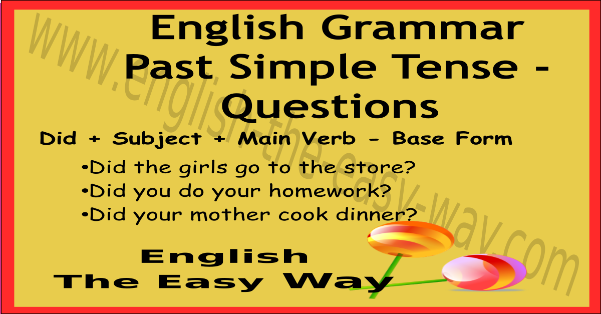 past verb tense chart - english grammar