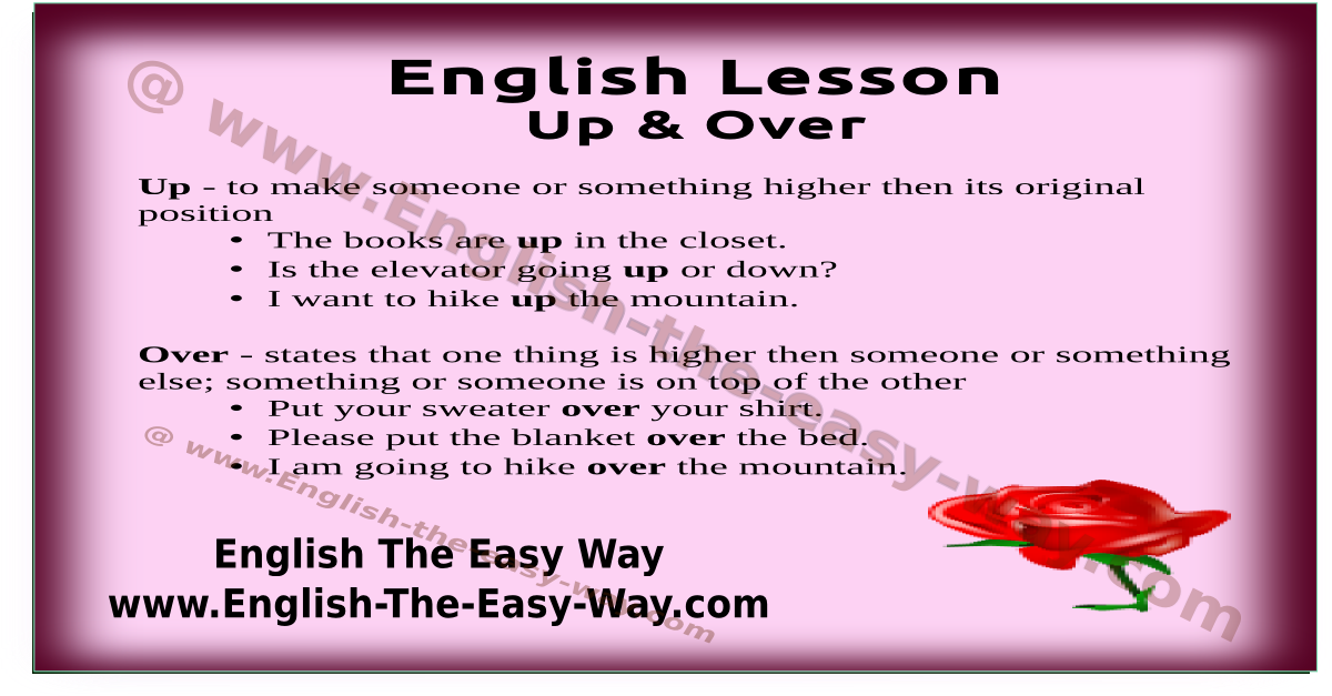up - over - above - english prepositions